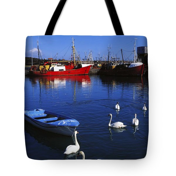 Ardglass, Co Down, Ireland Swans Near Tote Bag by The Irish Image Collection