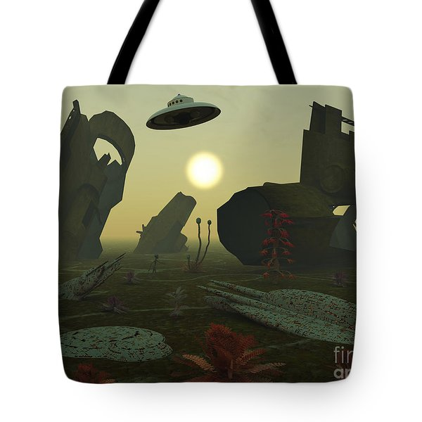 Artists Concept Of An Alien Scrap Yard Tote Bag by Mark Stevenson