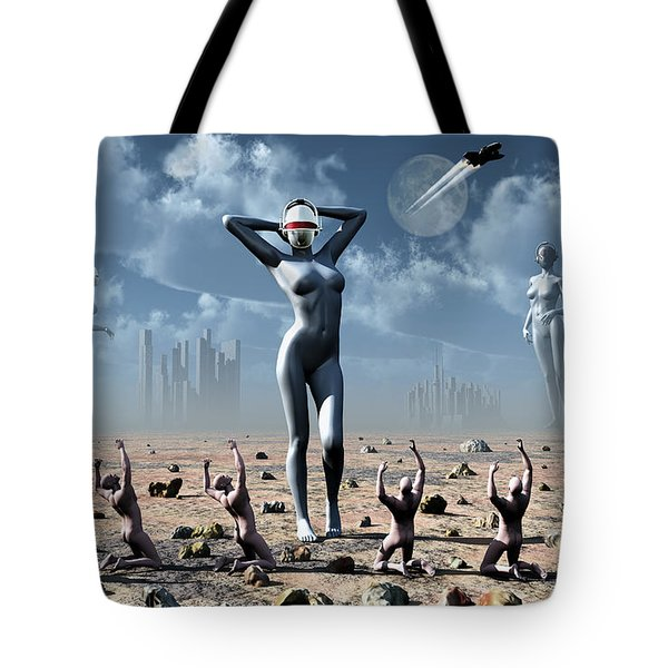 Artists Concept Of Mankinds Reliance Tote Bag by Mark Stevenson
