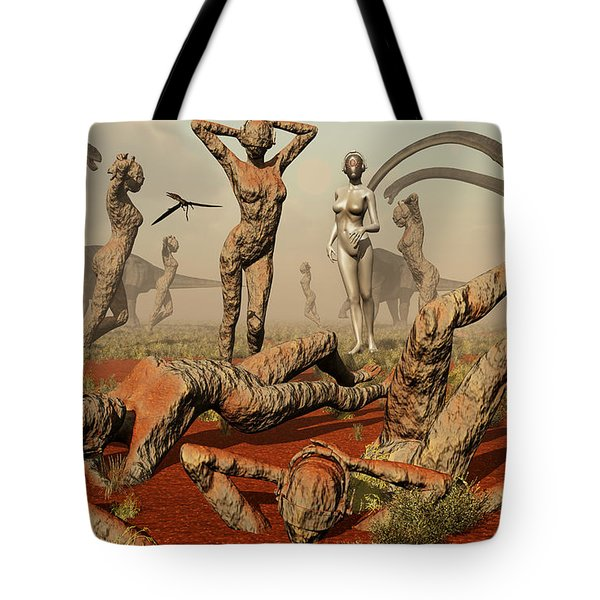 Artists Concept Of Mutated Dinosaurs Tote Bag by Mark Stevenson