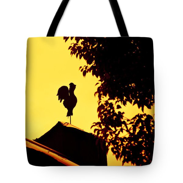 As A Rooster Crows Tote Bag by Carolyn Marshall