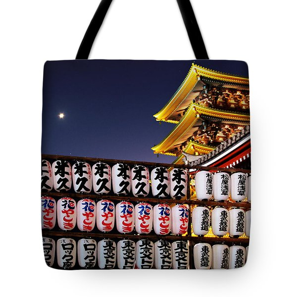 Asakusa Kannon Temple Pagoda And Lanterns At Night Tote Bag by Christine Till