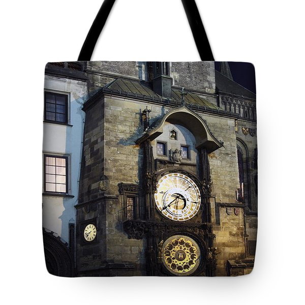 Astronomical Clock At Night Tote Bag by Sally Weigand