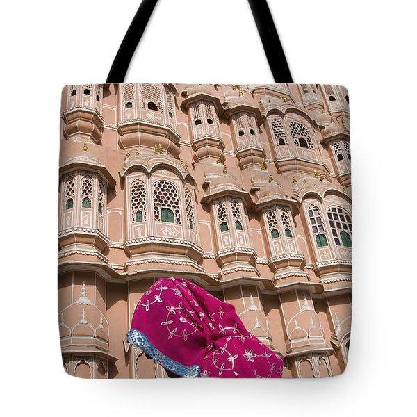 At Hawa Mahal City Palace, Jaipurs Most Tote Bag by Axiom Photographic