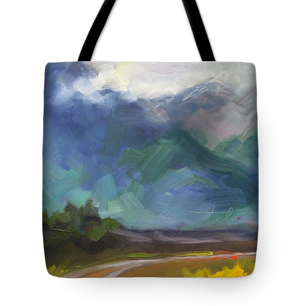 At The Feet Of Giants Tote Bag by Talya Johnson