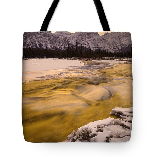 Athabasca River And Mt Fryatt, Jasper Tote Bag by Darwin Wiggett