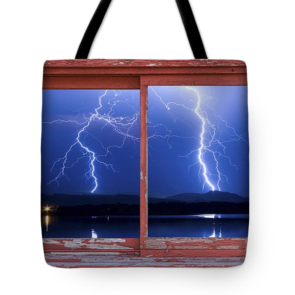 August 5th Lightning Storm Red Picture Window Frame Photo Art Tote Bag by James BO  Insogna