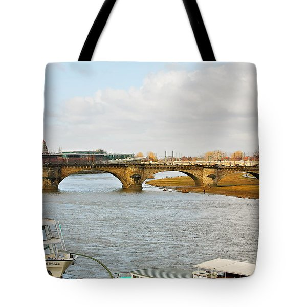 Augustus Bridge Dresden Germany Tote Bag by Christine Till