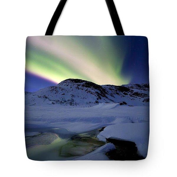 Aurora Borealis Over Mikkelfjellet Tote Bag by Arild Heitmann