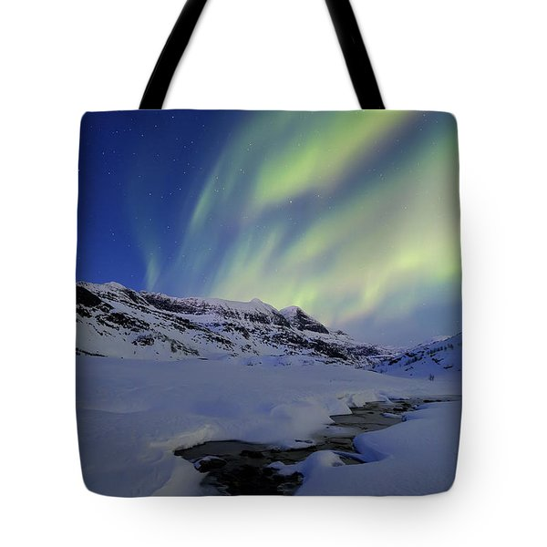 Aurora Over Skittendalstinden In Troms Tote Bag by Arild Heitmann