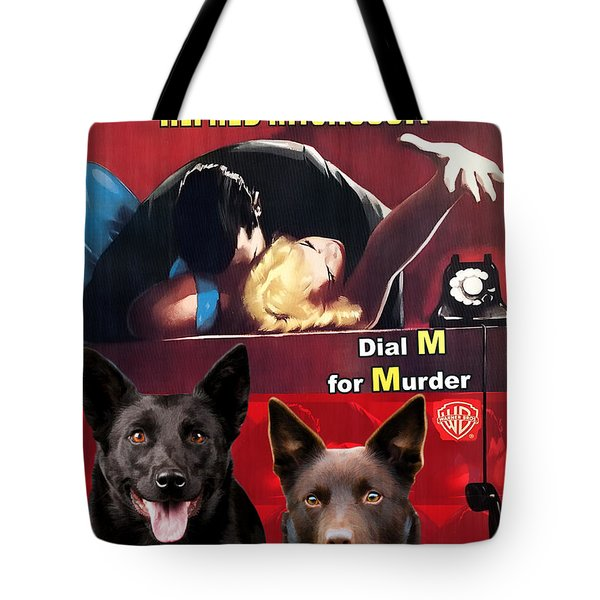 Australian Kelpie - Dial M For Murder Movie Poster Tote Bag by Sandra Sij