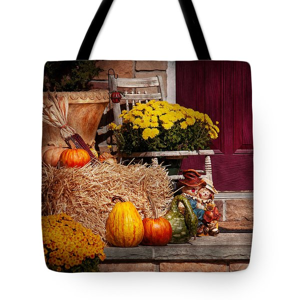 Autumn - Gourd - Autumn Preparations Tote Bag by Mike Savad