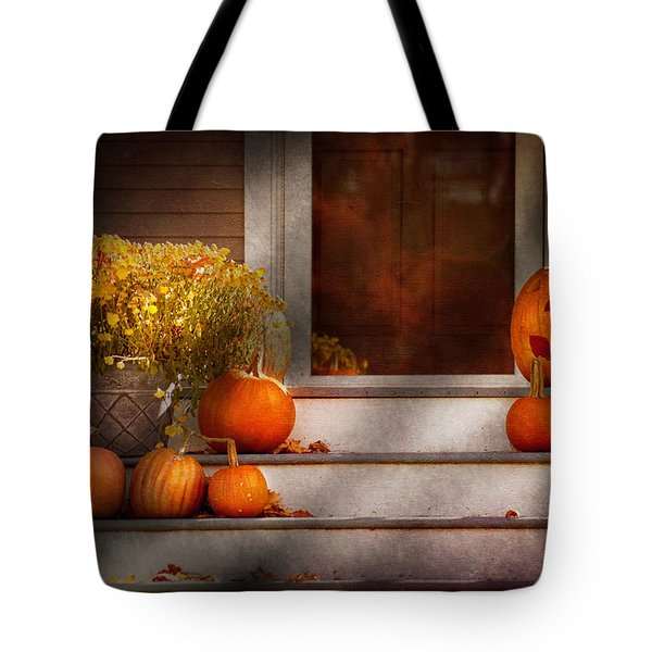 Autumn - Halloween - We're all happy to see you Tote Bag by Mike Savad