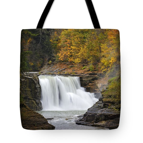 Autumn at the Lower Falls Tote Bag by Rick Berk