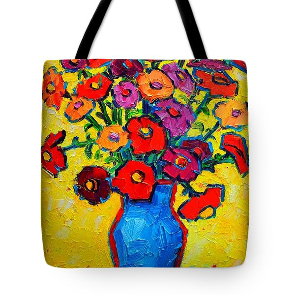 Autumn Flowers Zinnias Original Oil Painting Tote Bag by Ana Maria Edulescu
