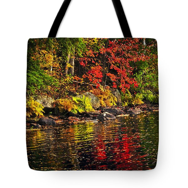 Autumn Forest And River Landscape Tote Bag by Elena Elisseeva