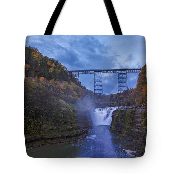 Autumn Morning At Upper Falls Tote Bag by Rick Berk