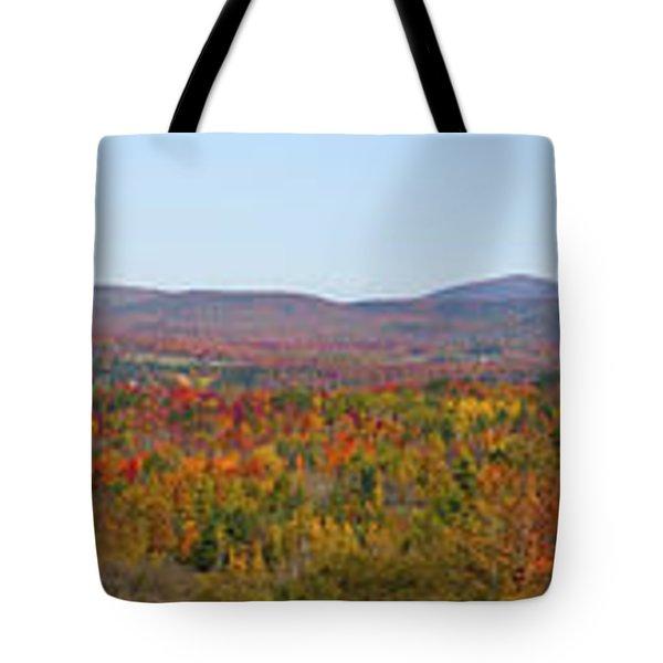 Autumn Panorama Brome Quebec Canada Tote Bag by David Chapman