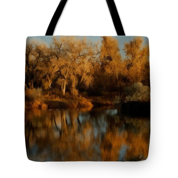 Autumn Reflections Painterly Tote Bag by Ernie Echols