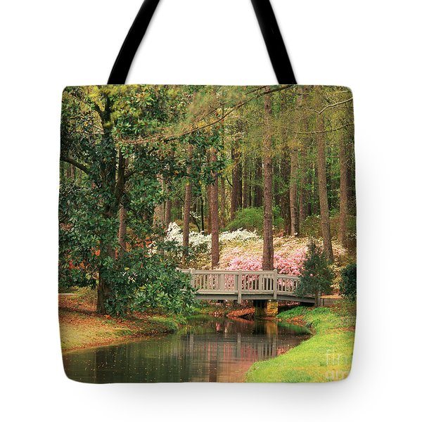 Azaleas And Footbridge Tote Bag by Michael Hubrich and Photo Researchers