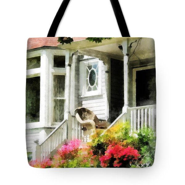 Azaleas By Porch With Wicker Chair Tote Bag by Susan Savad