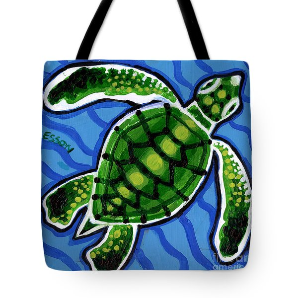 Baby Green Sea Turtle Tote Bag by Genevieve Esson