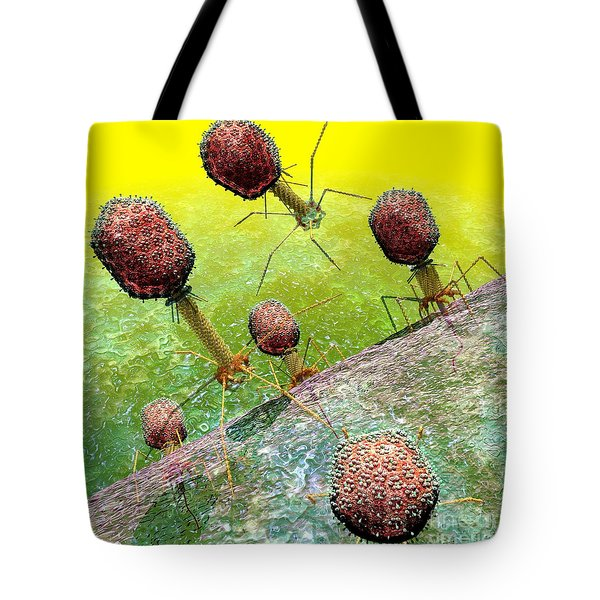 Bacteriophage T4 Virus Group 2 Tote Bag by Russell Kightley