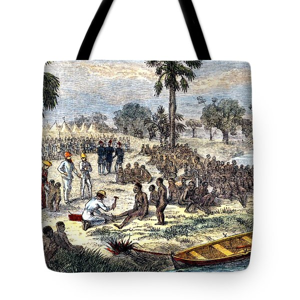 Baker Liberating Slaves In Africa, 1869 Tote Bag by Photo Researchers