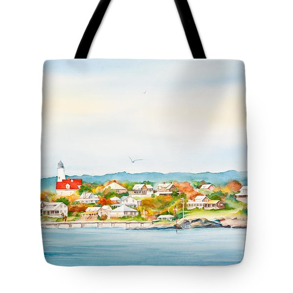 Bakers Island Lighthouse In Autumn Watercolor Painting Tote Bag by Michelle Wiarda