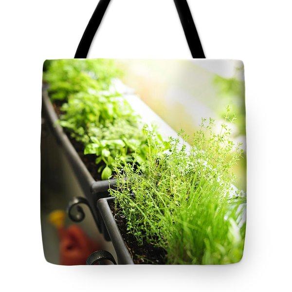 Balcony herb garden Tote Bag by Elena Elisseeva