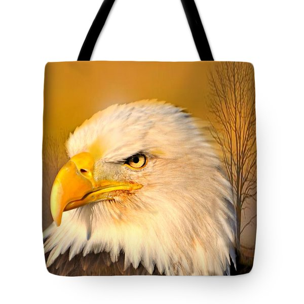 Bald Eagle And Tree Tote Bag by Marty Koch