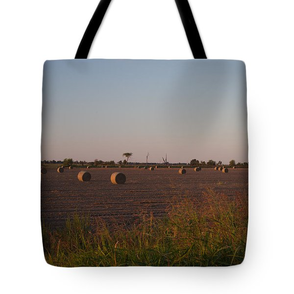 Bales In Peanut Field 1 Tote Bag by Douglas Barnett