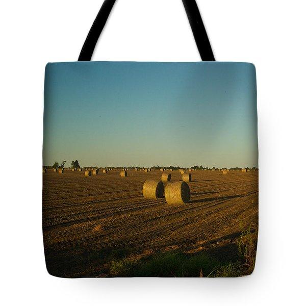 Bales in Peanut Field 13 Tote Bag by Douglas Barnett