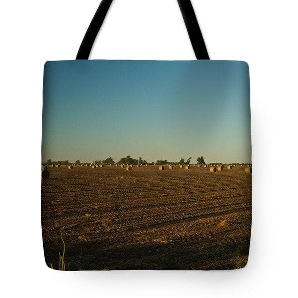 Bales In Peanut Field 9 Tote Bag by Douglas Barnett
