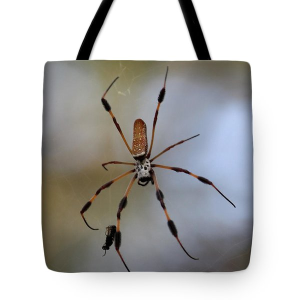 Banana Spider With Prey Tote Bag by Carol Groenen