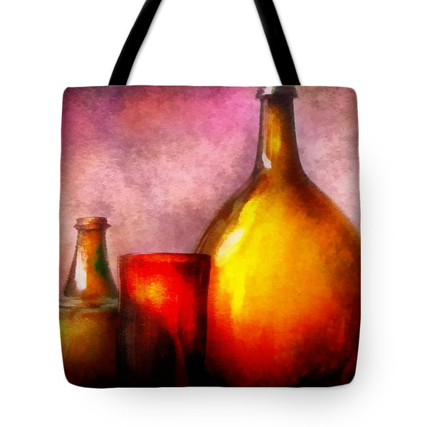 Bar - Bottles - A still life of bottles Tote Bag by Mike Savad