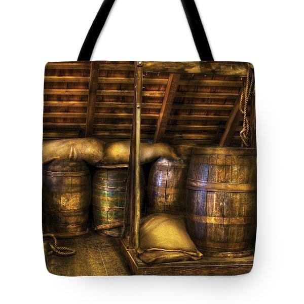 Bar - Wine Barrels Tote Bag by Mike Savad
