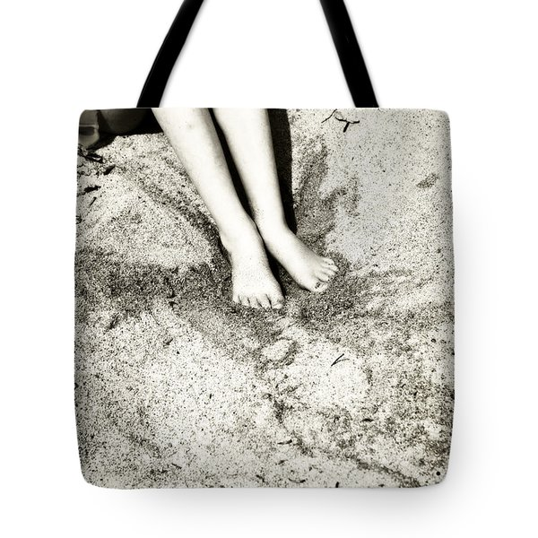 barefoot in the sand Tote Bag by Joana Kruse
