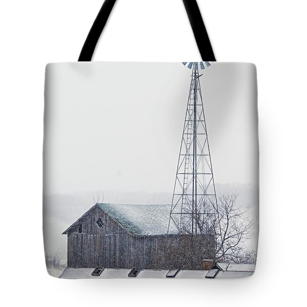 Barn and Windmill in Snow Tote Bag by Larry Ricker