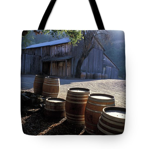 Barn and Wine Barrels Tote Bag by Kathy Yates