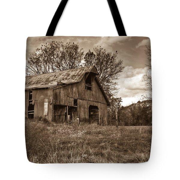 Barn In Turbulent Sky Tote Bag by Douglas Barnett