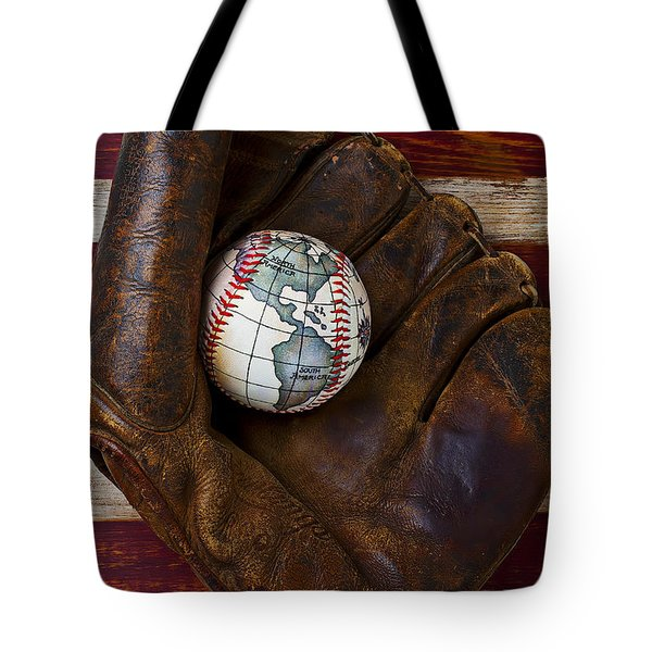 Baseball mitt with earth baseball Tote Bag by Garry Gay