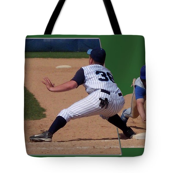 Baseball Pick Off Attempt 02 Tote Bag by Thomas Woolworth