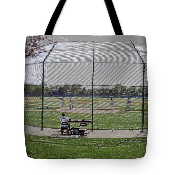 Baseball Warm Ups Digital Art Tote Bag by Thomas Woolworth