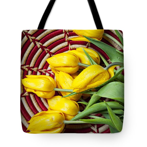 Basket full of tulips Tote Bag by Garry Gay