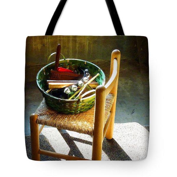Basket Of Toy Instruments Tote Bag by Susan Savad