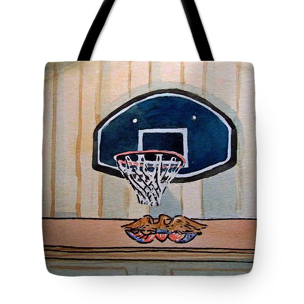 Basketball Hoop Sketchbook Project Down My Street Tote Bag by Irina Sztukowski