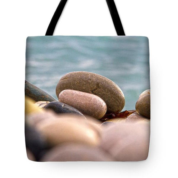 beach and stones Tote Bag by Stylianos Kleanthous