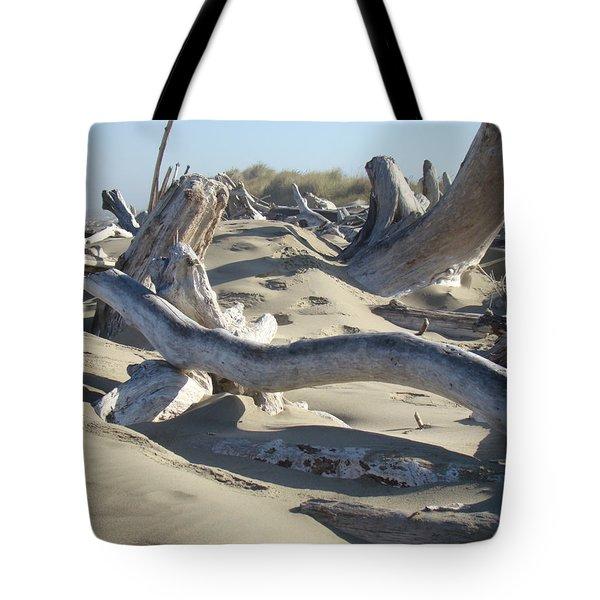 Beach Driftwood art prints Coastal Sand Dunes Shore Tote Bag by Baslee Troutman