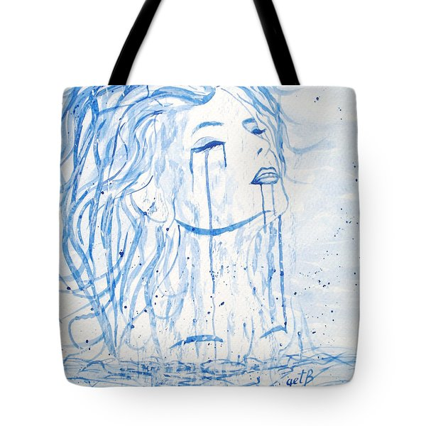 Beautiful Sea Woman watercolor painting Tote Bag by Georgeta  Blanaru
